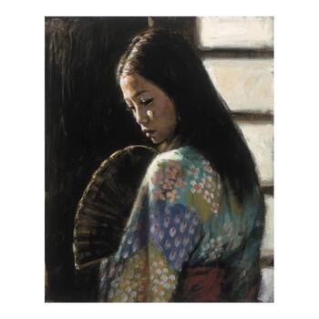 "Fabian Perez ""Study For Japanese Girl II"" Hand Embellished Limited Edition Canvas; Hand Signed, with COA."