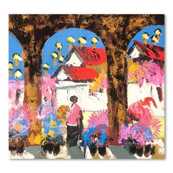 "Paul Blaine Henrie (1932-1999), ""Shadows of Tlaquepaque"" Hand Signed Original Painting on Canvas with Letter of Authenticity."