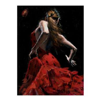 "Fabian Perez ""Dancer in Red with Polkadots"" Hand Embellished Limited Edition Canvas (40x30); Hand Signed, with COA."