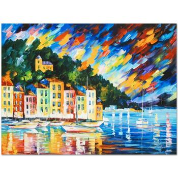 """Leonid Afremov (1955-2019) """"Portofino Harbor - Italy"""" Limited Edition Giclee on Gallery Wrapped Canvas, Numbered and Signed."""