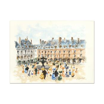 "Urbain Huchet, ""Place des Voyages"" Limited Edition Lithograph, Numbered and Hand Signed."