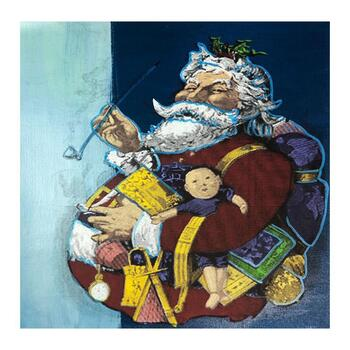 """Steve Kaufman (1960-2010), """"Jolly Old St. Nick"""" Hand Signed and Numbered Limited Edition Silkscreen on Canvas with LOA."""