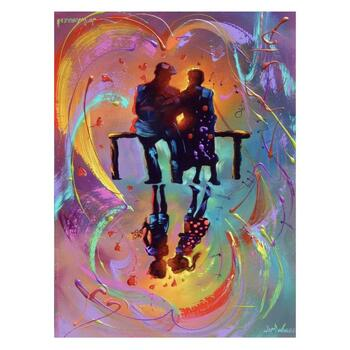 """Jim Warren, """"The First Kiss"""" Hand Signed, Artist Embellished AP Limited Edition Giclee on Canvas with COA"""