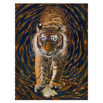 "Vera V. Goncharenko, ""Wild Tiger"" Hand Signed Limited Edition Giclee on Canvas with Letter of Authenticity."