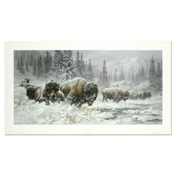 "Larry Fanning, ""Front Range Storm - Colorado Buffalo"" Hand Signed and Numbered Limited Edition Lithograph with LOA"