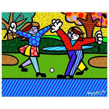 """Romero Britto """"New Golfer"""" Hand Signed Giclee on Canvas; Authenticated"""