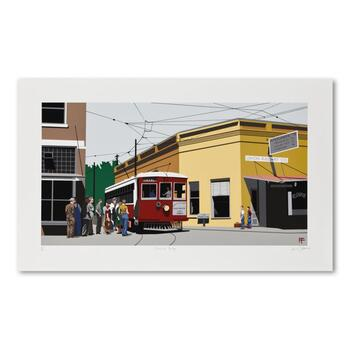 """Armond Fields (1930-2008), """"Fieldsville Trolley"""" Limited Edition Hand Pulled Original Serigraph, Numbered and Hand Signed w/LOA"""
