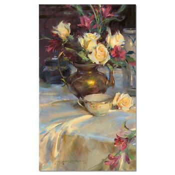 """Dan Gerhartz, """"Passion Roses & Tea"""" Limited Edition on Canvas, Numbered and Hand Signed with Letter of Authenticity."""