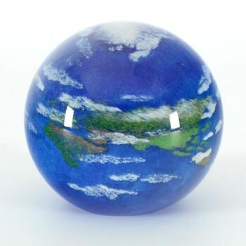 "Glass Eye Studios, ""Earth"" Hand Blown Glass Paperweight (Second)."
