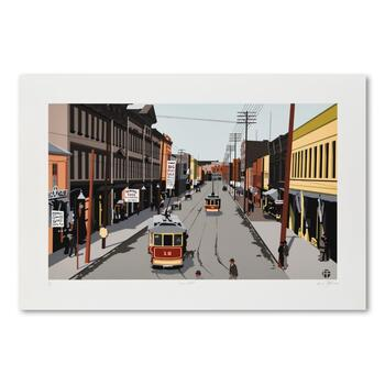 "Armond Fields (1930-2008), ""Main Street 1907"" Limited Edition Hand Pulled Original Serigraph, Numbered and Hand Signed w/LOA"