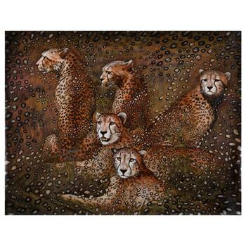 "Vera V. Goncharenko, ""Leopards"" Hand Signed Limited Edition Giclee on Canvas with Letter of Authenticity."