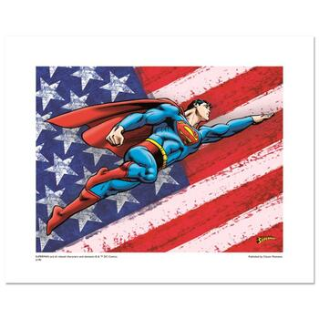 """Superman Patriotic"" Numbered Limited Edition Giclee from DC Comics with Certificate of Authenticity."