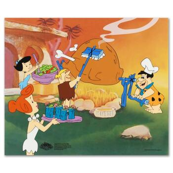 """""""Flintstones Barbecue"""" Limited Edition Sericel from the Popular Animated Series The Flintstones. Includes Certificate."""