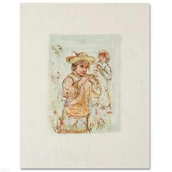 "Edna Hibel (1917-2014), ""Boy with Horn"" Limited Edition Lithograph, Numbered & Hand Signed with Certificate."