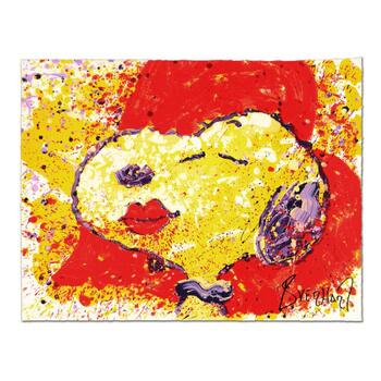 """Tom Everhart, """"A Kiss is Just a Kiss"""" Limited Edition Hand Pulled Original Lithograph Numbered and Hand Signed with LOA."""