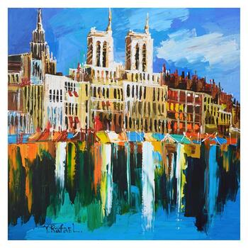 "Yana Rafael, ""City on the Waterfront"" Hand Signed Original Painting on Canvas with COA."