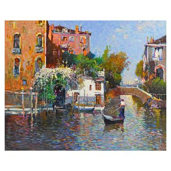 """Ming Feng, """"Gondolier"""" Limited Edition Serigraph on Canvas, Numbered 3/95 and Hand Signed with Letter of Authenticity."""