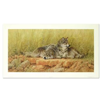 "Larry Fanning (1938-2014), ""End Of Summer - Gray Wolves"" Limited Edition Lithograph, Numbered and Hand Signed with LOA"