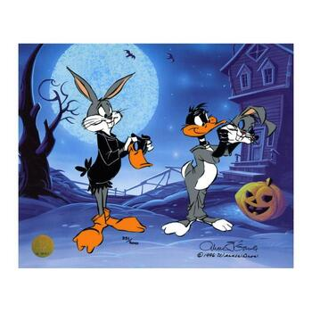 "Chuck Jones ""Trick Or Treat"" Hand-Signed Hand-painted Limited Edition Sericel."