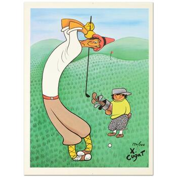 """Xavier Cugat (1900-1990), """"Skinny Golfer"""" Limited Edition Lithograph, Numbered and Plate Signed with Letter of Authenticity."""