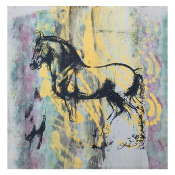 "Gail Rodgers, ""Leonardo's Horse"" Hand Signed Original Hand Pulled Silkscreen Mixed Media on Canvas with Letter of Authenticity."