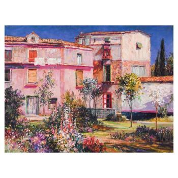 "Henri Plisson, ""Casa Majorca"" Limited Edition Serigraph  on Canvas, Numbered 54/150 and Hand Signed with Letter of Authenticity"