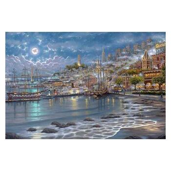 "Robert Finale, ""San Fran Moonlit Bay"" Hand Signed, Artist Embellished Limited Edition on Canvas with COA."