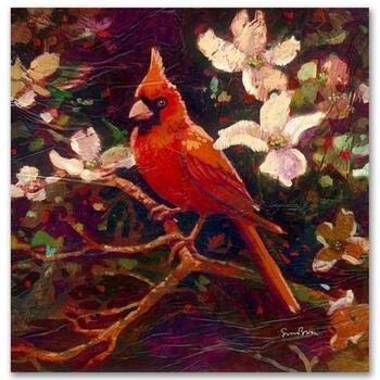 "Simon Bull, ""Cardinal"" Gallery Wrapped Ltd Ed Giclee on Canvas, Numbered and Signed."