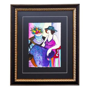 """Patricia Govezensky, """"Lucie"""" Framed Original Watercolor with Letter of Authenticity."""