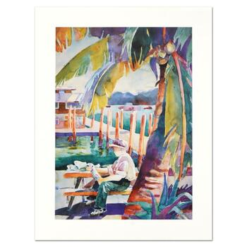 """Sissi Janku, """"Dockside Catch"""" Limited Edition Lithograph, Numbered and Hand Signed."""