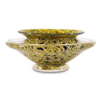 """Small Ikebana Flower Bowl"" Hand-Blown Glass Bowl, Hand Signed by GartnerBlade Glass."