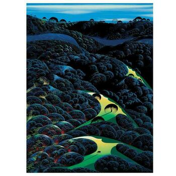 """Eyvind Earle (1916-2000), """"Three Pastures On A Hillside"""" Limited Edition Serigraph on Paper; Numbered & Hand-Signed; COA."""