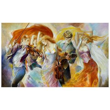 """Lena Sotskova, """"Happiness"""" Artist Embellished Limited Edition Giclee on Canvas with COA."""