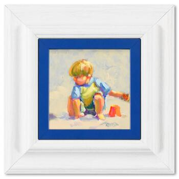 """Lucelle Raad, """"Boy"""" Framed Original Acrylic Painting on Board, Hand Signed with Letter of Authenticity."""