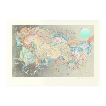 """Guillaume Azoulay, """"Stardust"""" Limited Edition Serigraph with Hand Laid Silver Leaf, Numbered and Hand Signed with LOA"""