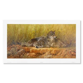 """Larry Fanning, """"End of Summer (Gray Wolves)"""" Hand Signed Limited Edition Lithograph with letter of authenticity."""