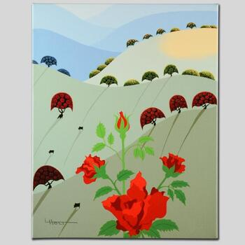 """Larissa Holt, """"Pushing Up Roses"""" Ltd Ed Giclee on Gallery Wrapped Canvas, Numbered and Signed."""