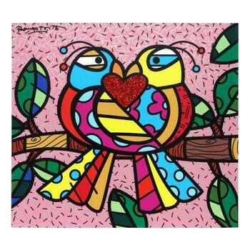 """Romero Britto """"Love Birds (Pink)"""" Hand Signed Limited Edition Giclee on Canvas; Authenticated"""