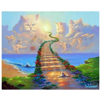 """Jim Warren, """"All Cats go to Heaven"""" Hand Signed, Artist Embellished AP Limited Edition Giclee on Canvas with COA"""