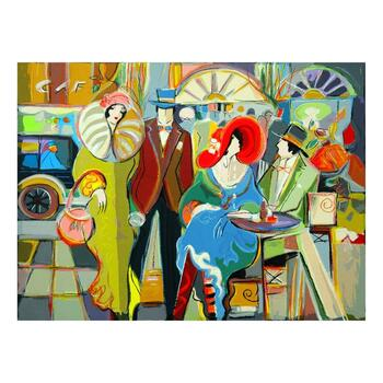 "Isaac Maimon, ""Cafe Society"" Limited Edition Serigraph, Numbered and Hand Signed with Letter of Authenticity."