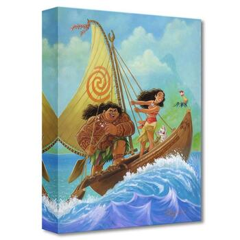 """Moana Knows the Way"" Limited edition canvas by Tim Rogerson from the Disney Fine Art Treasures collection; with COA"