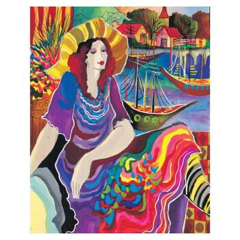 """Patricia Govezensky, """"Lady by the Bayside"""" Hand Signed Limited Edition Giclee on Canvas with Letter of Authenticity."""