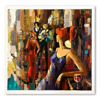 """Nelly Panto, """"Waiting for You"""" Hand Signed Limited Edition Serigraph on Paper with Letter of Authenticity."""