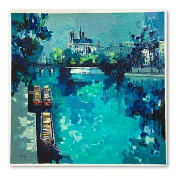 """Claude Fauchere, """"Notre Dame"""" Hand Signed Limited Edition Serigraph on Paper with Letter of Authenticity."""