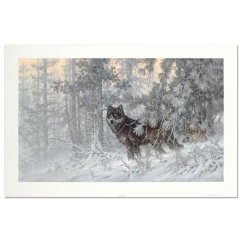 """Larry Fanning (1938-2014), """"Phantom of the North - Wolf"""" Limited Edition Lithograph, Numbered and Hand Signed with LOA"""