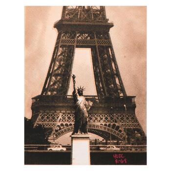 """Ringo Daniel Funes, """"Eiffel Tower"""" One-of-a-Kind Mixed Media Painting on Canvas, Hand Signed; COA"""