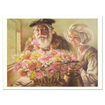 "Virginia Dan (1922-2014), ""Roses for Papa"" Limited Edition Lithograph, Numbered and Hand Signed with Letter of Authenticity."