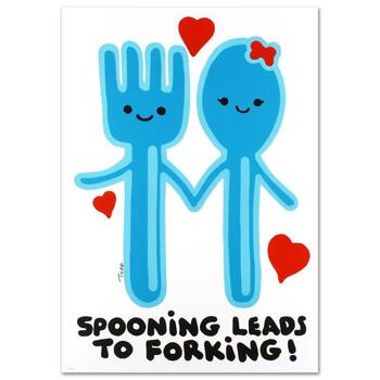"""Todd, """"Spooning Leads to Forking"""" Ltd Ed Lithograph (25"""" x 35""""), Numbered and Hand Signed with Certificate."""