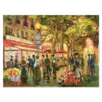 """Valery Gromov, """"Evening Cafe"""" Original Oil Painting on Canvas, Hand Signed with Letter of Authenticity."""