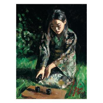 "Fabian Perez ""Geisha Pouring Sake II"" Hand Embellished Limited Edition Canvas; Hand Signed, with COA."